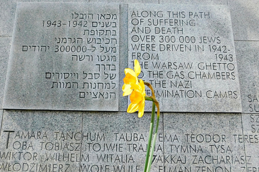 The Umschlagplatz Monument in Warsaw, Poland, where more than 300,000 Jews were transported from the Warsaw Ghetto to Nazi death camps.