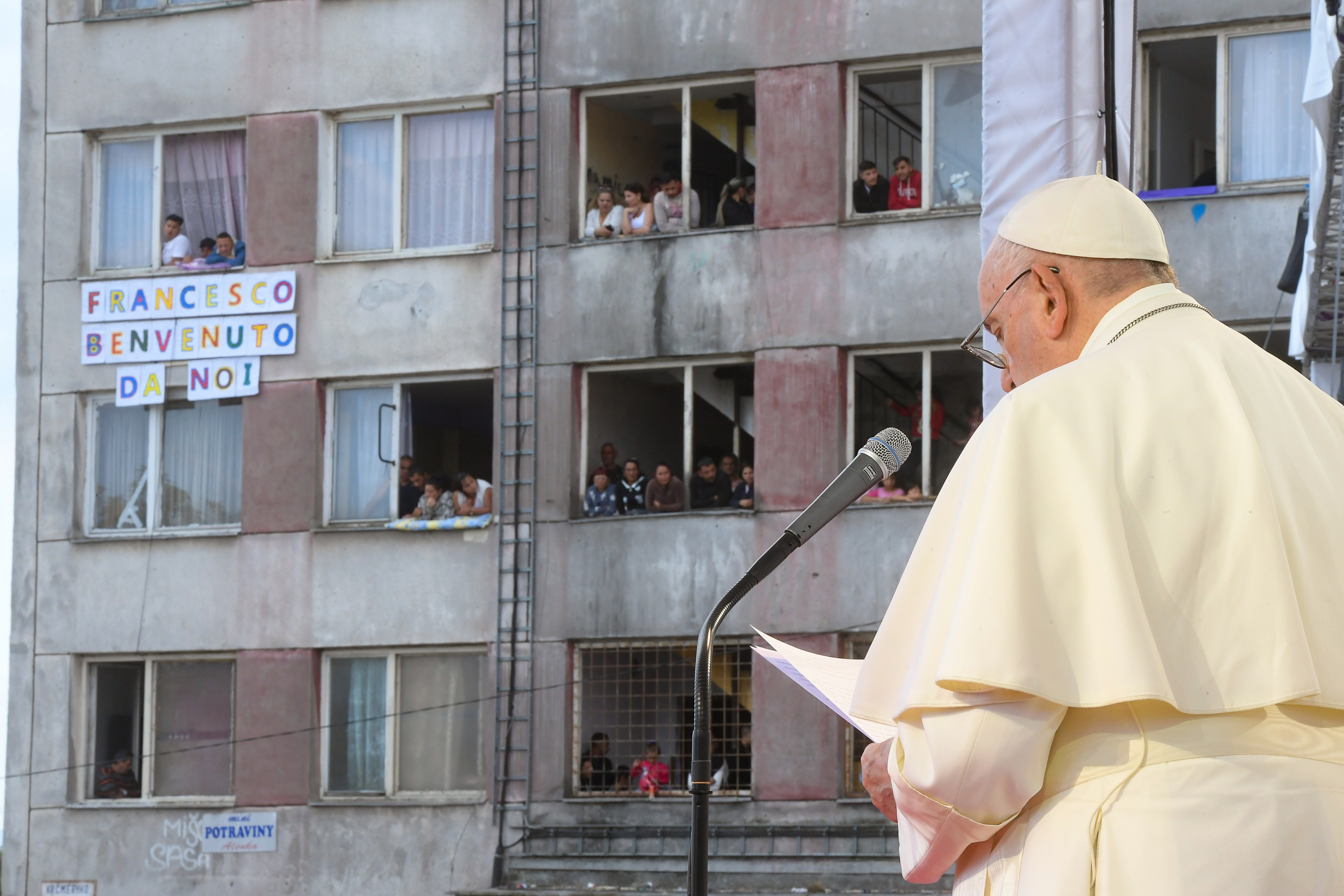 Pope Francis speaks to the Roma community in the Lunik IX district in Košice, Slovakia, on Sept. 14, 2021.