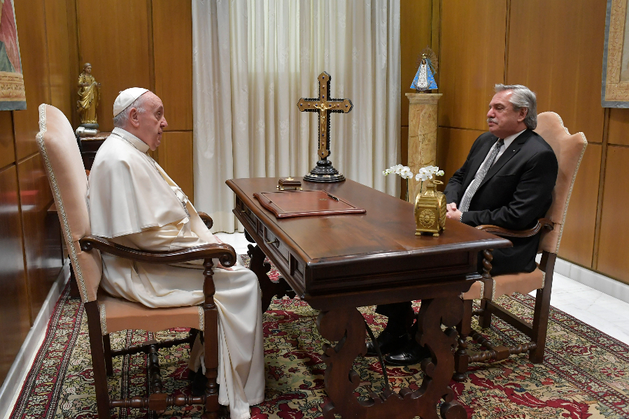 Argentine President Alberto Fernández meets with Pope Francis at the Vatican, May 13, 2021