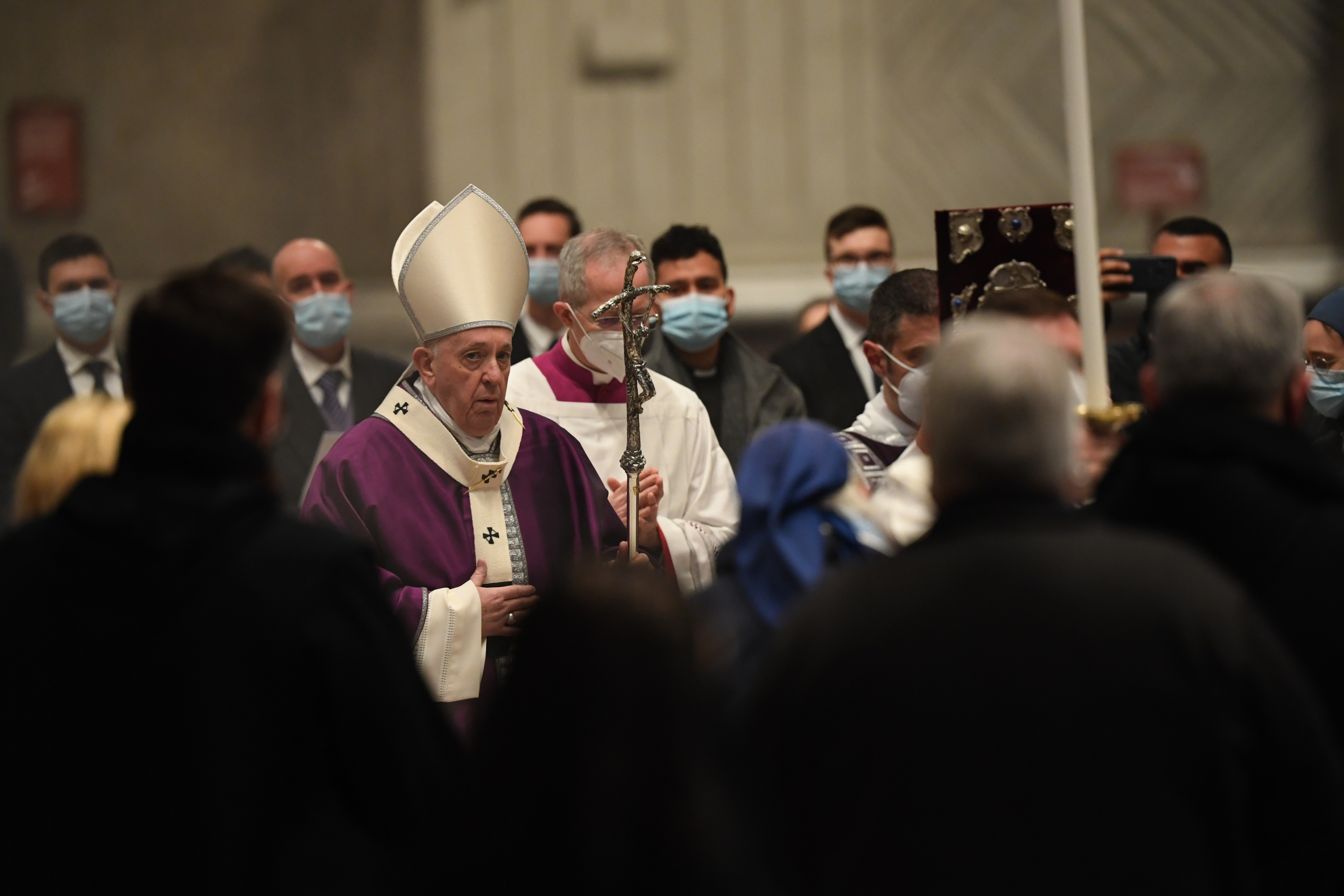 Bishop-elect Guido Marini walks beside Pope Francis on Ash Wednesday 2021 in St. Peter's Basilica