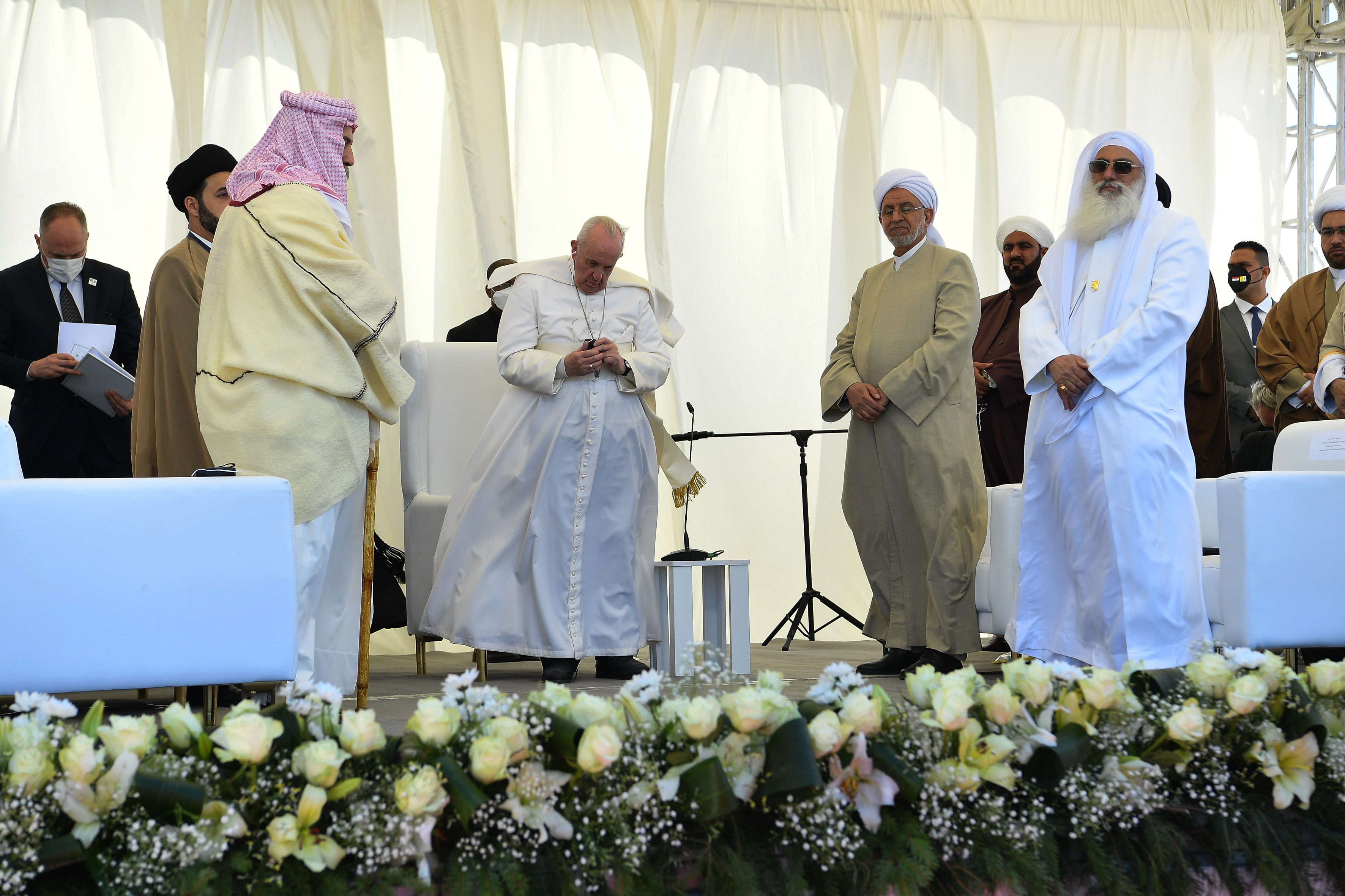 Pope Francis participates in an interreligious meeting at the site of Ur, outside Nasiriyah, Iraq, March 6, 2021.