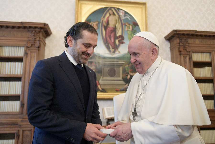 Saad Hariri, Prime Minister-designate of Lebanon, meets with Pope Francis at the Vatican, April 22, 2021.
